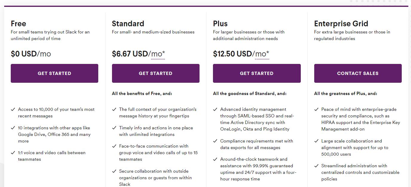 Slack pricing plans Ascendix Tech