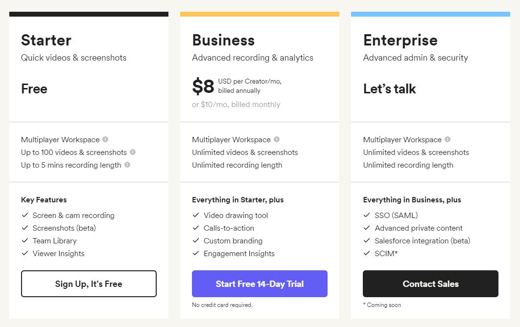 loom-best-saas-startups-2021-pricing