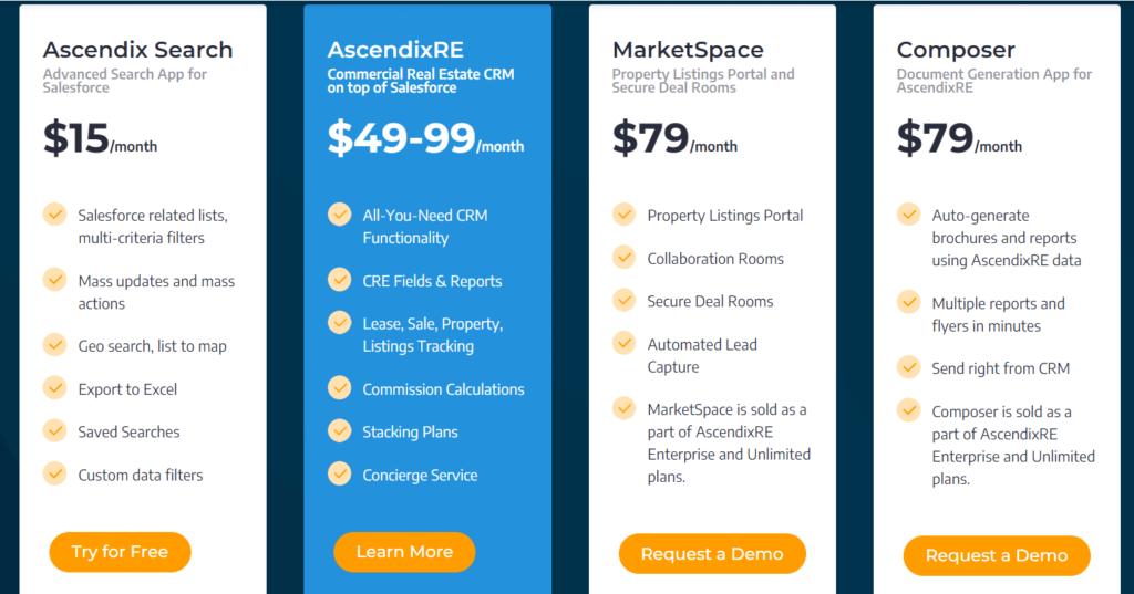 Ascendix - one of the leading commercial real estate software companies pricing plans