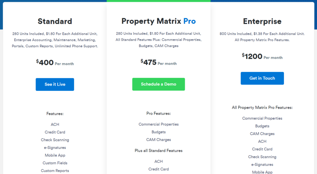 Property Matrix-commercial real estate property management software company pricing